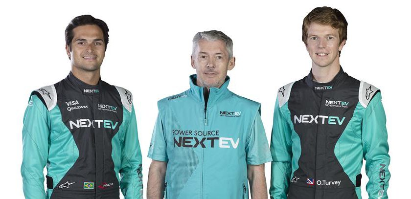 Nelson Piquet Jr, NEXTEV president and team principal Martin Leach and Oliver Turvey are ready for the upcoming sesason Photo: NEXTEV