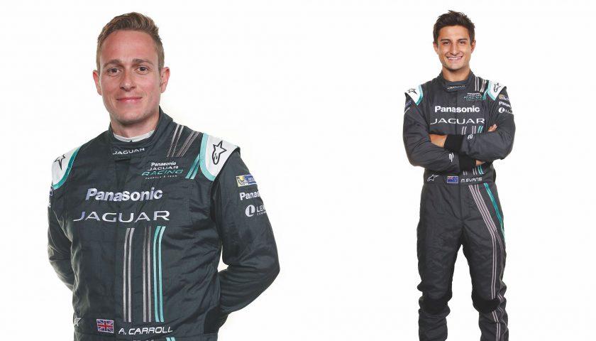 Panasonic Jaguar Racing drivers Adam Carroll (left) and Mitch Evans Photo: Panasonic Jaguar Racing