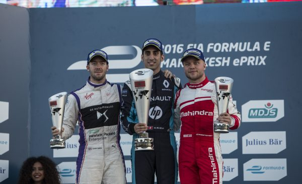 Marrakesh ePrix winner Sébastien Buemi (middle) with Sam Bird (second on the left) and Felix Rosenqvist (third on the right) on the podium. Photo: Andrew Ferraro/LAT/Formula E